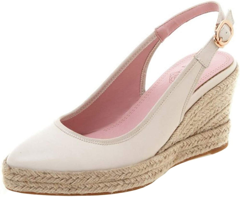 ELEEMEE Women Casual Block Heel Braid Summer shoes Slingback Sandals