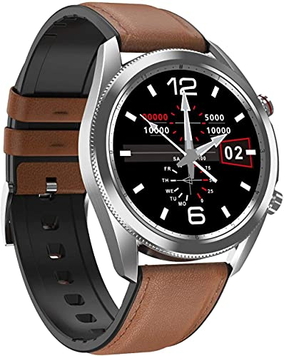 JSL Reloj inteligente para hombre de 1,3 pulgadas pantalla IP67 impermeable de negocios deportes fitness Tracker-marrón