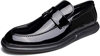 Sygjal Men's Fashion Oxford Casual Round Toe Gentlemen Easy To Wear Patent Leather Slip On Formal Shoes (Color : Black, Size : 40 EU)