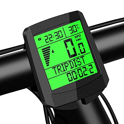 Cuentakilómetros Inalámbrico para Bicicleta,Impermeable Computadora de Bicicleta con 21 Funciones y 5 Idiomas,Velocímetro Bicicleta con Pantalla LCD de Retroiluminación para Ciclismo Speed Track