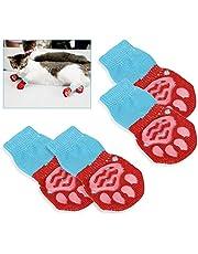 Gresunny 4 Piezas Calcetines para Perros Antideslizantes Protectores de Patas para Uso en Interior y Control de tracción con Refuerzo de Goma Botas para Mascotas Perro Gatos Rojo