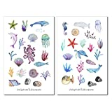 Meerestiere Sticker Set | Aufkleber Meer | Journal Sticker | Sticker Maritim, Muscheln, Strand, Meer, Urlaub, See, Wal, Qualle, Delfin