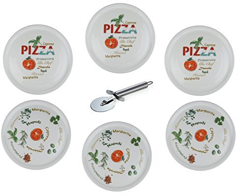 Retsch Arzberg - Pizzateller im Set inklusive Pizzaschneider/Pizzaroller - Pizza Teller XXL Ø30cm (mit Dekor, 6er Set)