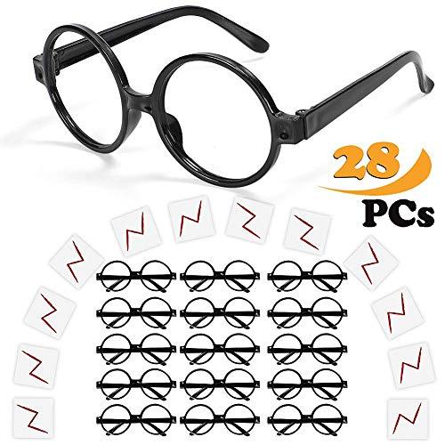 Wuree Zauberer-Brille mit rundem Rahmen Keine Linsen und Lightning Bolt Tattoos für Kinder, Halloween, St Patrick Tag Kostüm Party, 16 Pack von jedem, schwarz
