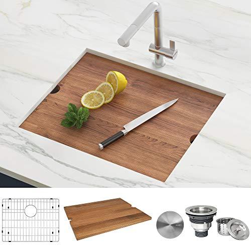 Ruvati 21-inch Workstation Bar Prep Undermount 16 Gauge Ledge Kitchen Sink Stainless Steel Single Bowl - RVH8307