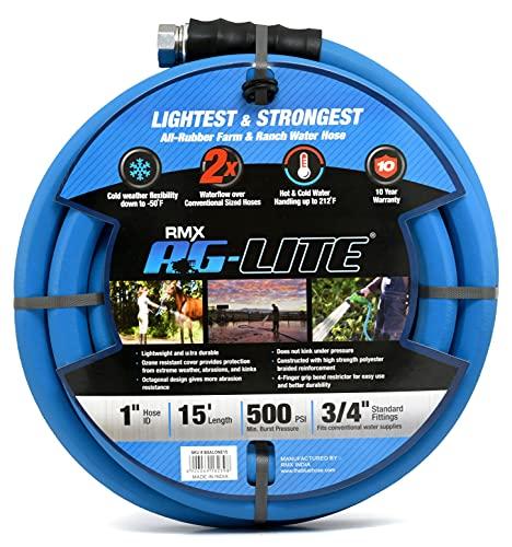 AG-Lite Rubber Hot & Cold Water Rubber Garden Hose: Ultra-Light & Super Strong - 2X the water flow...