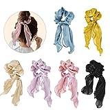 6 elastici per capelli in chiffon, elastici boho, in seta, con fiocco in raso, per capelli da donna o ragazza, accessori per capelli