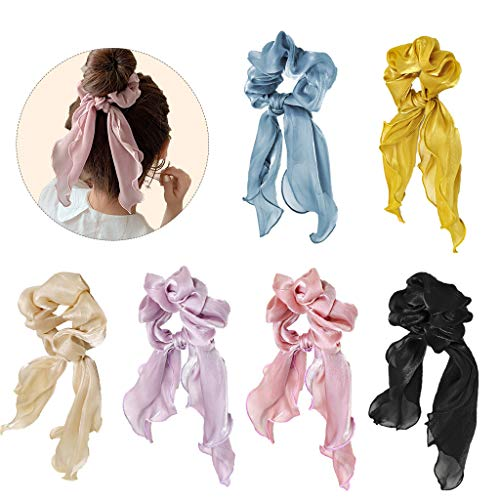 6 pieces chiffon hair ties in boho style, silk satin bow, hair ties, ponytail holders for women or girls