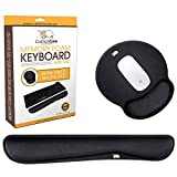Cushioncare Keyboard Wrist Rest with Mouse Pad Set - Padded with Memory Foam Cushion, Black -...