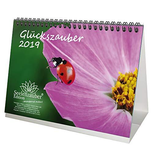 Glückszauber · DIN A5 · Premium Tischkalender/Kalender 2019 · Glück · Marienkäfer · Geschenk-Set mit 1 Grußkarte und 1 Weihnachtskarte · Edition Seelenzauber
