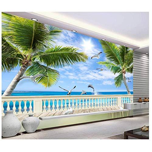 Fotobehang voor muren, mediterrane wandschilderingen, strand, zeeland boom achtergrond, behang voor woonkamerdecoratie 280 cm (B) x 180 cm (H)