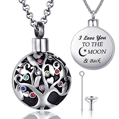 Family Tree of Life Cremation Jewelry I Love You to the Moon and Back Urn Necklaces for Ashes Keepsake Holder Memorial Necklace Pendant