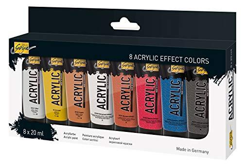 KREUL-Solo Goya-Pintura acrílica (Alta pigmentación, Fabricada en Alemania, 8 Unidades de 20 ml en Colores de Efectos, para Escuela, Estudio, Trabajo y Ocio), (84174)