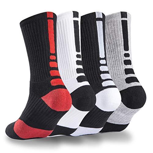 NANOOER 4 Pack Mens Basketball Socks Cushion Athletic Long Sports Outdoor Socks Compression Sock 6.5-11.5 (one size, 4 Pack Basketball socks)