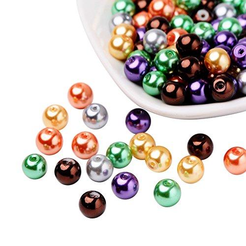 PandaHall 100pcs 8mm Perles Nacrees Perle de Verre Bracelet Perles Rondes pour Bijoux, Couleur Mixte, Trou 1mm