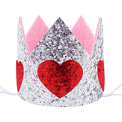 Maticr Sparkled First 1st Birthday Crown Baby Girl Princess Headband Party Supplies for Cake Smash (Silver & Red Heart)