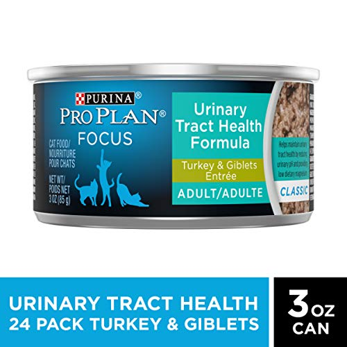Purina Pro Plan Urinary Tract Health Pate Wet Cat Food, FOCUS Urinary Tract Health Formula Turkey & Giblets Entree - (24) 3 oz. Pull-Top Cans