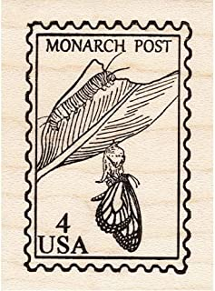 Monarch Post Rubber Stamp Faux Butterfly Postage