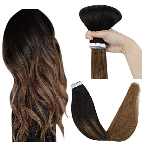 YoungSee Black Tape in Hair Extensions Human Hair Ombre Real Tape Hair Extensions Balayage Black to Medium Brown Ombre Tape in Extensions Remy Human Hair 16inch 20pcs 50g