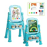 Arkmiido Art Easel for Kids, Double-Sided Magnetic Dry Erase Board and Chalk Board