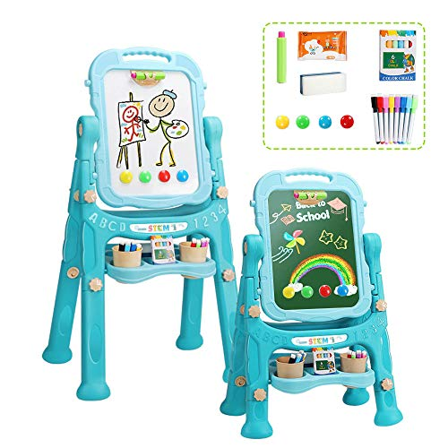 Adjustable Height Double Sided Art Easels for Kids-Toddler Easel with Chalkboard and Dry Erase Board (Green)