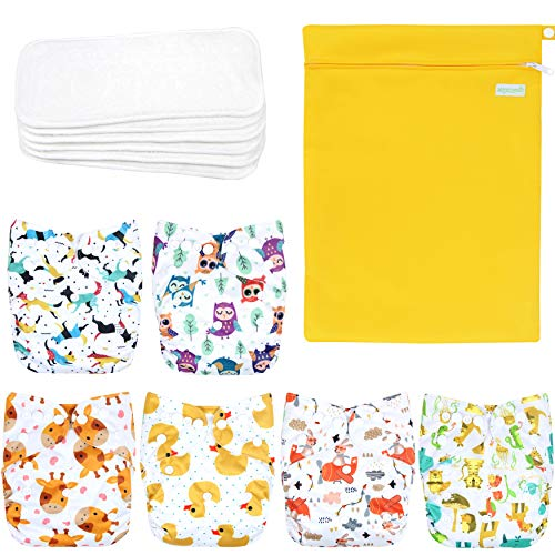 Wegreeco Washable Reusable Baby Cloth Pocket Diapers 6 Pack + 6 Bamboo...