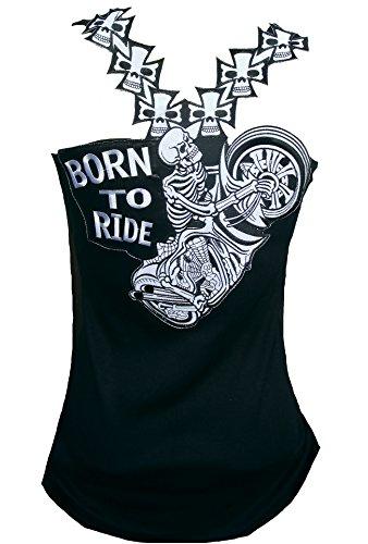 Rockabilly Punk Rock - Camiseta de Tirantes para Mujer, diseño de Calavera Negro Negro (XXL