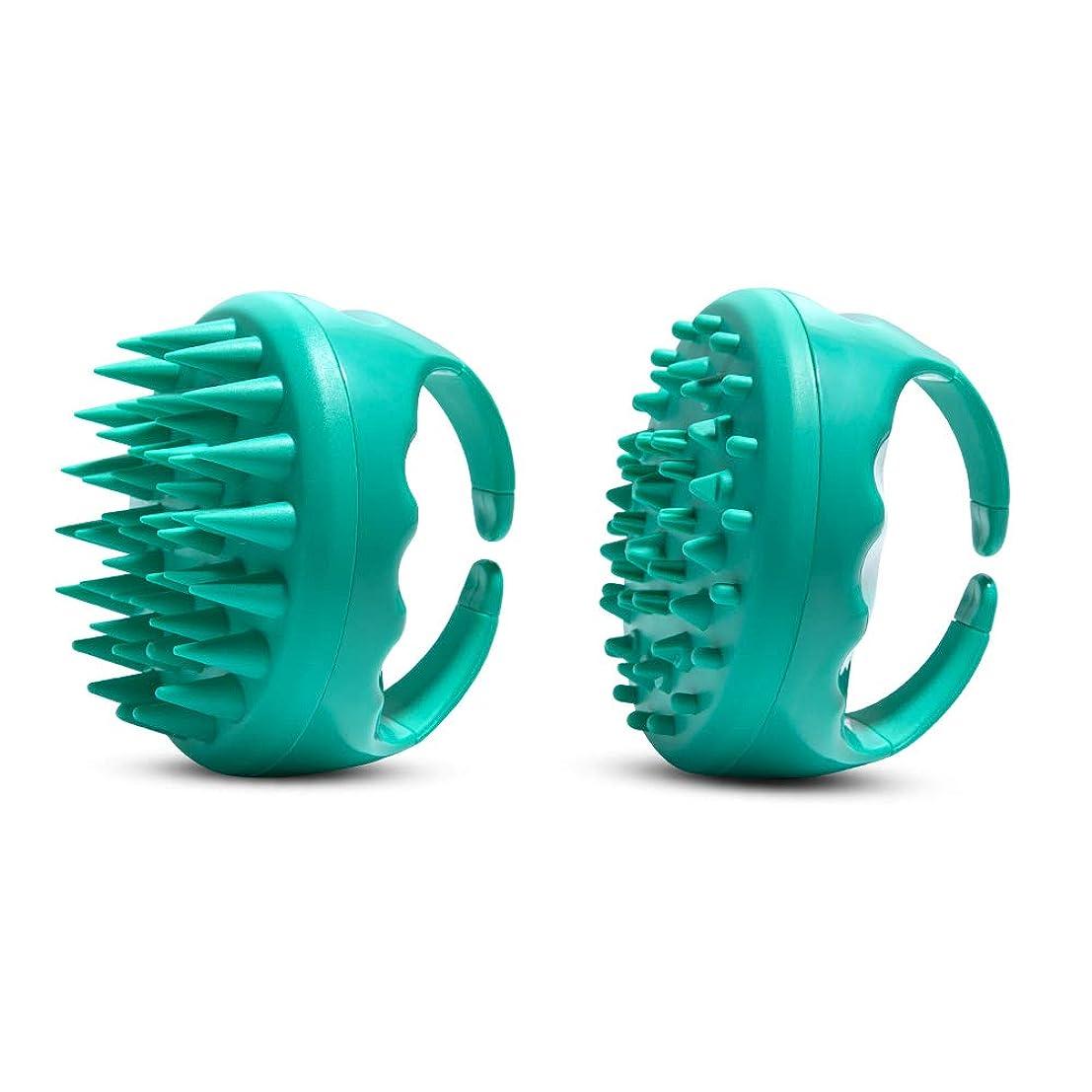 数字磁気分注するDiolan 頭皮洗浄ブラシ ボディブラシ 2個セット ヘッドスパ用 ボディスパ用?シリコン製 男女兼用 グリン