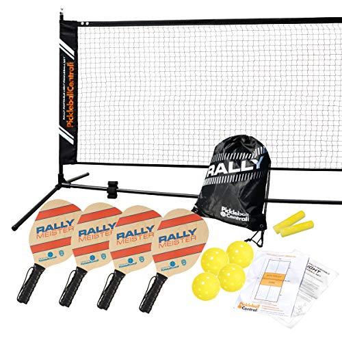 Rally Meister Complete Beginner Pickleball Set with Portable Pickleball Net (Net + 4 Paddles + 4 Pickleballs + Drawstring Bag + Rules/Strategy Guide + Line Chalk)