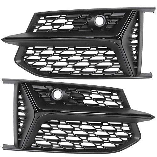 CHENGQIAN Wabengitter, glänzender schwarzer Bienenwabe-Mesh RS6-Stil Nebelscheinwerfergrillen Grills für Audi A6 S-LINE C8 S6 2019-2020,Schwarz