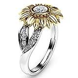 Goddesslili Designed Two Tone Silver Floral Rings for Women Girlfriend Girls Round Diamond Gold Sunflower Jewel Vintage Large Wedding Engagement Anniversary Exquisite Jewelry Gift Under 5 Dollars (8)