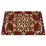 Tcerlcir Set di 6 Tovagliette Elegante Natale Festivo Lavabile Antiscivolo Resistente al Calore per la Cucina e la tavola 45x30cm