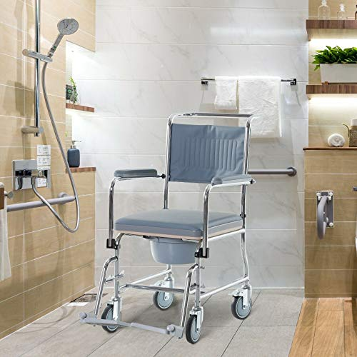 Bedside Toilet and Medical Rolling Shower Wheelchair with Bariatric Removable Bucket and Swinging Footrest Portable Ideal for Elderly Patient Mobility and Transportation Grey