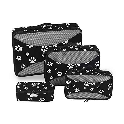 QMIN - Juego de 4 Cubos de Viaje con diseño de Huella de Perro, Color Blanco y Negro, Bolsa organizadora de Equipaje de Malla, Bolsa de Almacenamiento para Maletas de Viaje