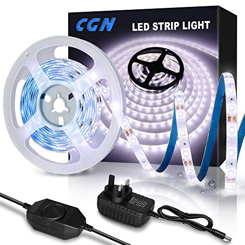 Waterproof LED Strip Lights 5M, CGN Dimmable White LED Strips Kit Daylight White Strip Lighting, IP65 Light Strip SMD 2835 LED with 12V Power Adapter & Dimmer Switch, for Indoor & Outdoor Decoration