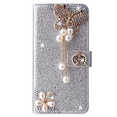 Blllue Funda tipo cartera compatible con Samsung A21s, Bling Crown Butterfly Glitter Diamond Pu Funda de cuero Flip Phone Cover para Samsung Galaxy A21s - Plata