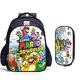 Mdsfe 16 Pulgadas Mario Bros Sonic Mochilas Escolares para niños Mochila ortopédica Niños Escuela Niños Niñas Mochila Infantil Bolsas de Dibujos Animados - 2 Piezas028