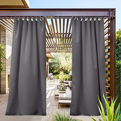 nicetown home patio curtains NICETOWN Outdoor Patio Curtain Waterproof 84 Long, Tab Top Heavy Weight Water Resistance Sunblock Window Treatment, Keep Privacy for Gazebo/Dock (1 Piece, W52 x L84 inch, Grey)