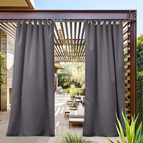 NICETOWN Outdoor Patio Curtain Waterproof 84 Long, Tab Top Heavy Weight Water Resistance Sunblock Window Treatment, Keep Privacy for Gazebo/Dock (1 Piece, W52 x L84 inch, Grey)