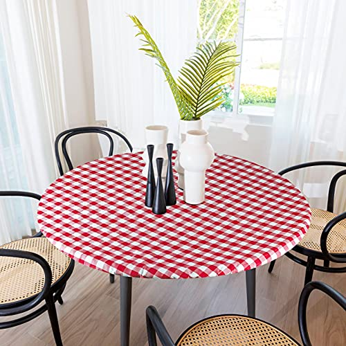 Sorfey Indoor/Outdoor Vinyl Elastic Edge Fitted Tablecloth Cover. Checkered Design, Flannel Backed Leak Proof Lining, Easy to Clean. Stretched to Fit 30 Inch Round Table , Red