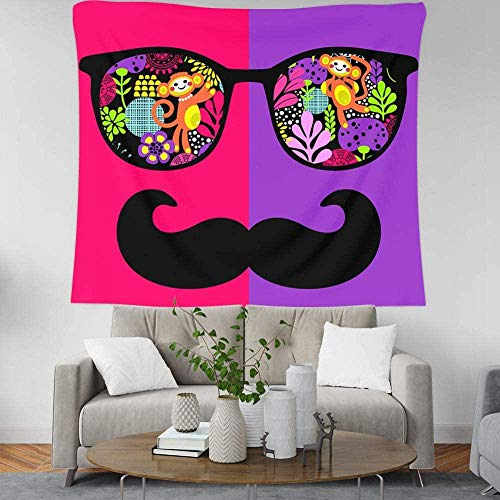 Wandtapijt,Cartoon Monkey Plant Glasses Beard n Style Fashion Size Print Fabric Bohemian Mandala Gothic Picnic Sheet For Student Dormitory Classroom Playground Wall Home-150 × 130cm