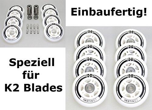 Hyper 4/8er Set Instinct Rollen Inliner Skates fertig montierte für K 2- Blades - Rolle 80mm/82a + Lager ABEC7 + Alu-Spacer 6mm