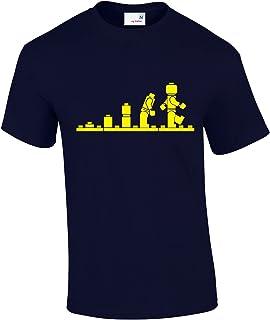 Crown Designs Evolution of Bricks Cool Funky Geek Nerd for Men & Teenagers T-Shirts Tops