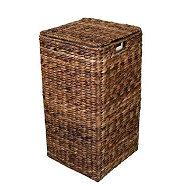 BirdRock Home Seagrass Laundry Hamper | Hand Woven | Renewable | Long Lasting (Square Abaca Hamper)