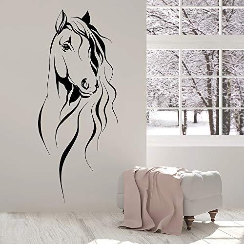 JXNY Schöne Pferdekopf Wandtattoo Pet Tier Art Decor Büro Vinyl Wandaufkleber Für Wohnzimmer Chinesischen Stil Dekoration 57x137 cm