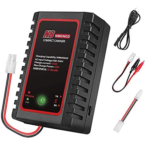 MMOBIEL Cargador inteligente para baterías LiPO 2S-8S 2,4-9,6V Nimh / NiCD / LiPO de drones /coches RC / rifles Airsoft / Embarcaciones normales Incl. una conexión Mini Tamiya y abrazaderas Alligator