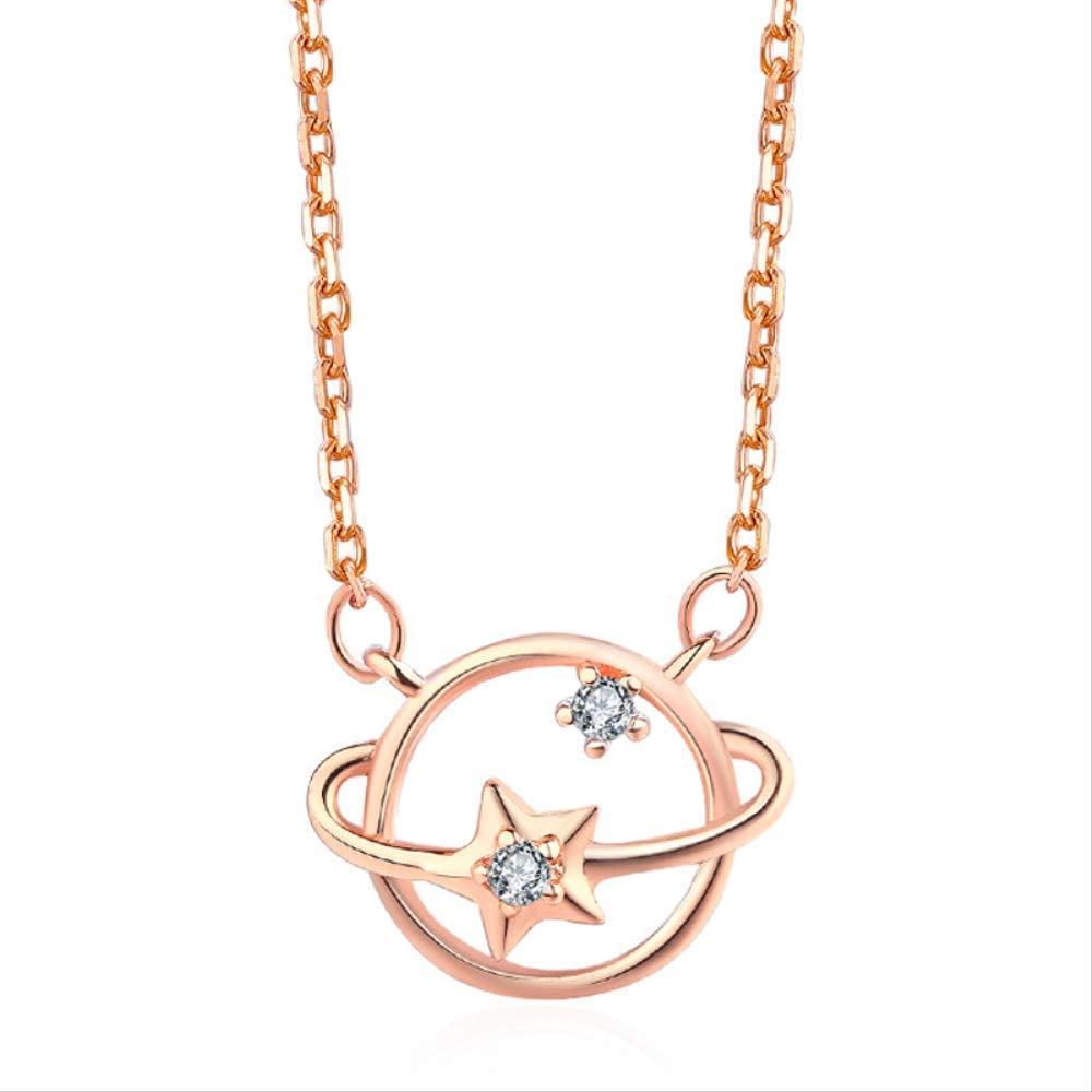 Naswi Luxury Rose Gold Color Round Shape Star Surround Pendant Necklaces for Women Charm Jewelry Gift Star Necklace Collares