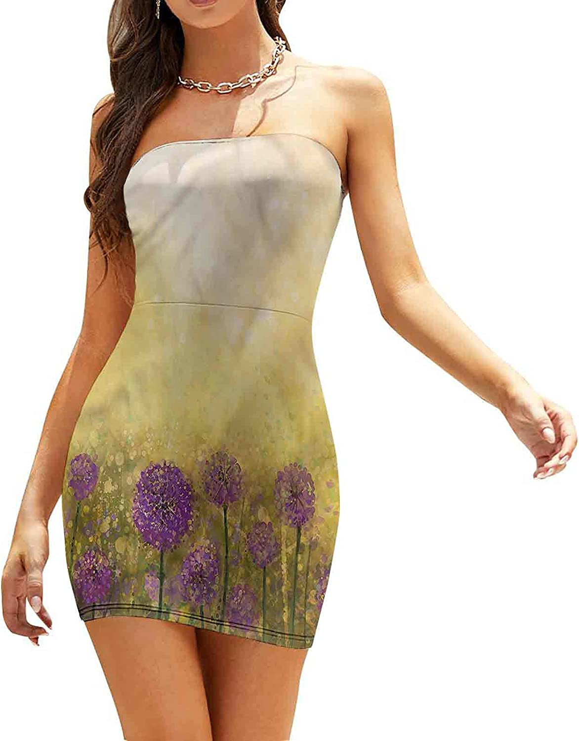 Women's Sleeveless Sexy Tube Top Dress Old Fashioned Floral Dresses