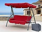 QUICK STAR Hollywoodschaukel 3 Sitzer Klappbar mit Liegefunktion Schaukel Gartenliege Triumph Rubin inkl. Schutzhülle