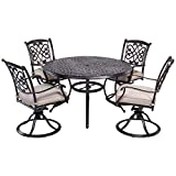 dali 5 Piece Outdoor Dining Set Patio Furniture, Deep Cushioned Aluminum Swivel Rocker Chair Set with 48 inch Round Alum Casting Table